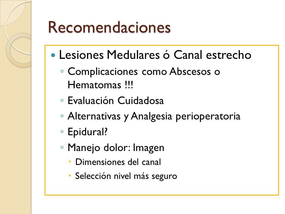 Recomendaciones Lesiones Medulares ó Canal estrecho Complicaciones como Abscesos o Hematomas !!! Evaluación Cuidadosa Alternativas y Analgesia periope