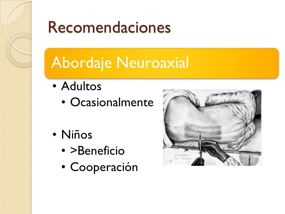 Recomendaciones Abordaje Neuroaxial Adultos Ocasionalmente Niños >Beneficio Cooperación