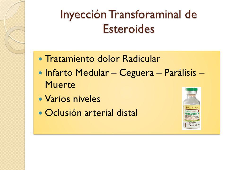 Inyección Transforaminal de Esteroides Tratamiento dolor Radicular Infarto Medular – Ceguera – Parálisis – Muerte Varios niveles Oclusión arterial dis