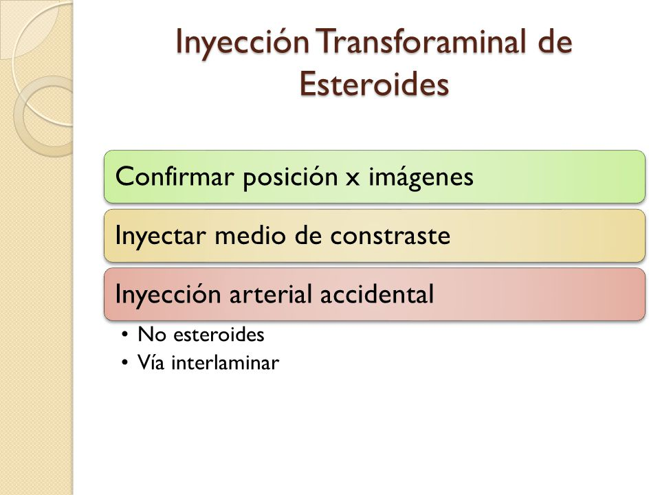 Inyección Transforaminal de Esteroides Confirmar posición x imágenesInyectar medio de constrasteInyección arterial accidental No esteroides Vía interl