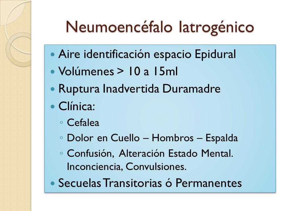 Neumoencéfalo Iatrogénico Aire identificación espacio Epidural Volúmenes > 10 a 15ml Ruptura Inadvertida Duramadre Clínica: Cefalea Dolor en Cuello –
