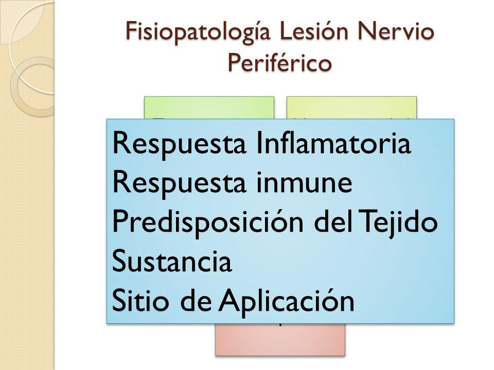 Fisiopatología Lesión Nervio Periférico Trauma x aguja y cateter: +1 Neurotoxicidad Test de Raj IsquemiaCompresión Neuropraxias Respuesta Inflamatoria