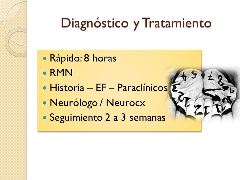 Diagnóstico y Tratamiento Rápido: 8 horas RMN Historia – EF – Paraclínicos Neurólogo / Neurocx Seguimiento 2 a 3 semanas Rápido: 8 horas RMN Historia