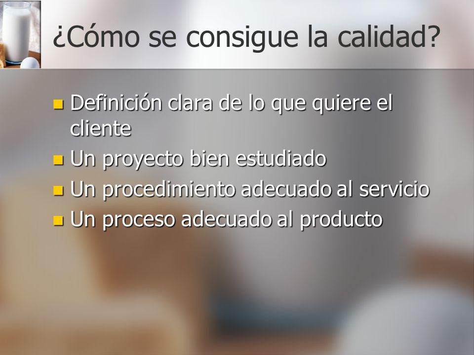 ¿Cómo se consigue la calidad? Definición clara de lo que quiere el cliente Definición clara de lo que quiere el cliente Un proyecto bien estudiado Un