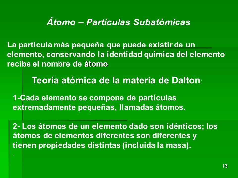 13 Átomo – Partículas Subatómicas átomo La partícula más pequeña que puede existir de un elemento, conservando la identidad química del elemento recibe el nombre de átomo Teoría atómica de la materia de Dalton : 1-Cada elemento se compone de partículas extremadamente pequeñas, llamadas átomos.