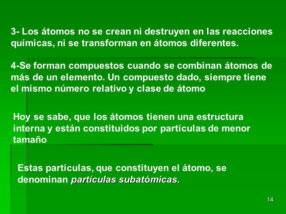 14 3- Los átomos no se crean ni destruyen en las reacciones químicas, ni se transforman en átomos diferentes. 4-Se forman compuestos cuando se combina