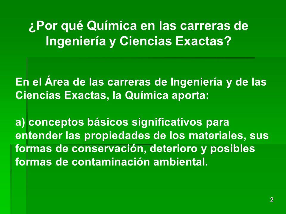 2 ¿Por qué Química en las carreras de Ingeniería y Ciencias Exactas.