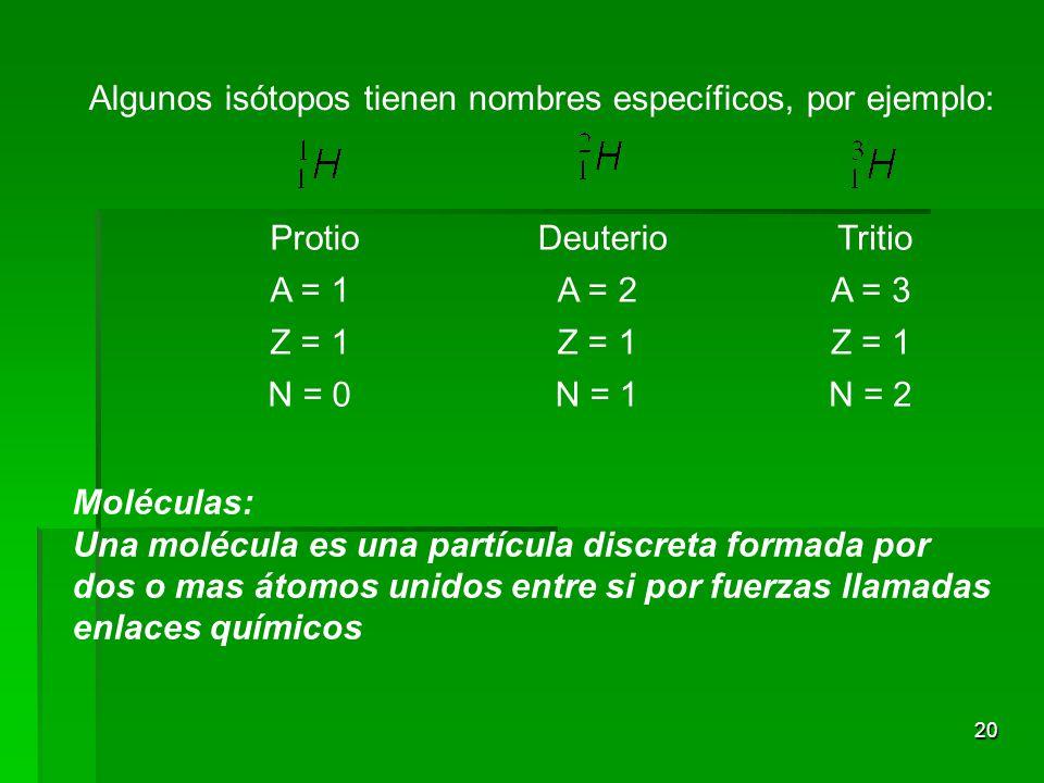 20 Algunos isótopos tienen nombres específicos, por ejemplo: Protio Deuterio Tritio A = 1A = 2A = 3 Z = 1 N = 0N = 1N = 2 Moléculas: Una molécula es una partícula discreta formada por dos o mas átomos unidos entre si por fuerzas llamadas enlaces químicos