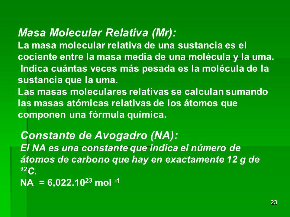 23 Masa Molecular Relativa (Mr): La masa molecular relativa de una sustancia es el cociente entre la masa media de una molécula y la uma. Indica cuánt