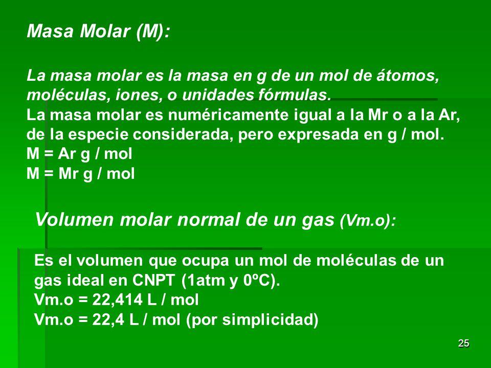 25 Masa Molar (M): La masa molar es la masa en g de un mol de átomos, moléculas, iones, o unidades fórmulas. La masa molar es numéricamente igual a la