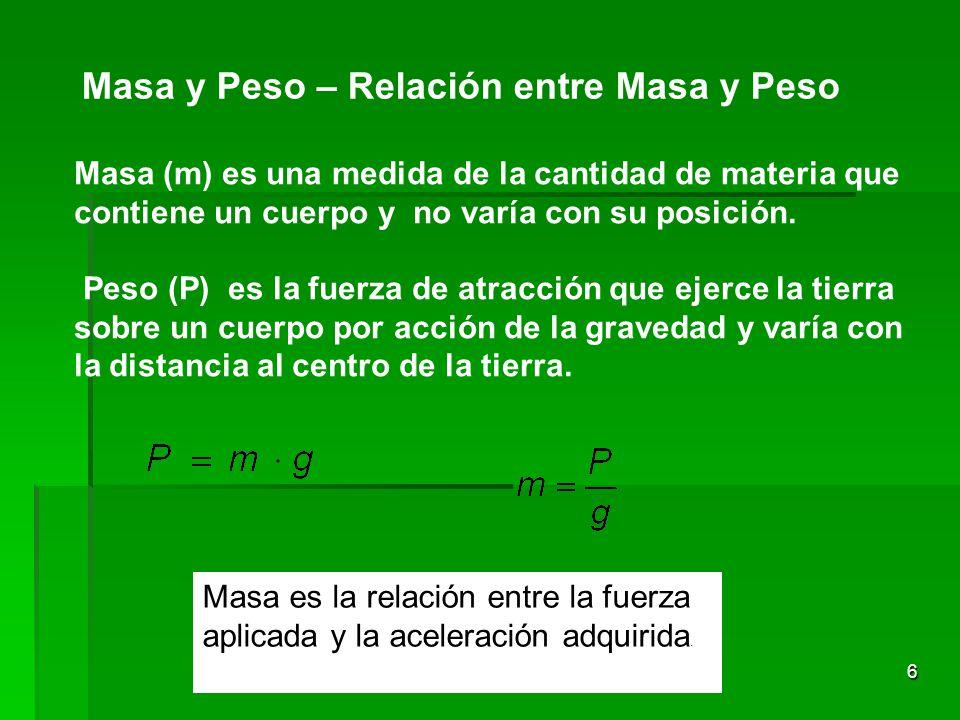 6 Masa y Peso – Relación entre Masa y Peso Masa (m) es una medida de la cantidad de materia que contiene un cuerpo y no varía con su posición. Peso (P