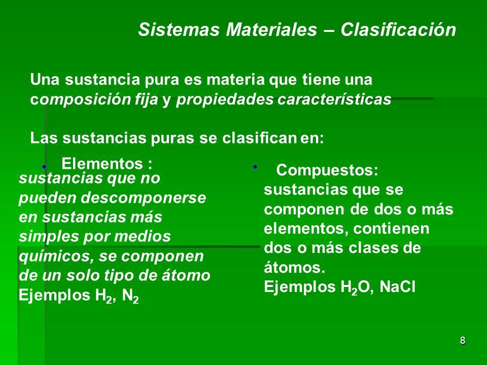 8 Sistemas Materiales – Clasificación Una sustancia pura es materia que tiene una composición fija y propiedades características Las sustancias puras se clasifican en: Elementos : Compuestos: sustancias que no pueden descomponerse en sustancias más simples por medios químicos, se componen de un solo tipo de átomo Ejemplos H 2, N 2 sustancias que se componen de dos o más elementos, contienen dos o más clases de átomos.
