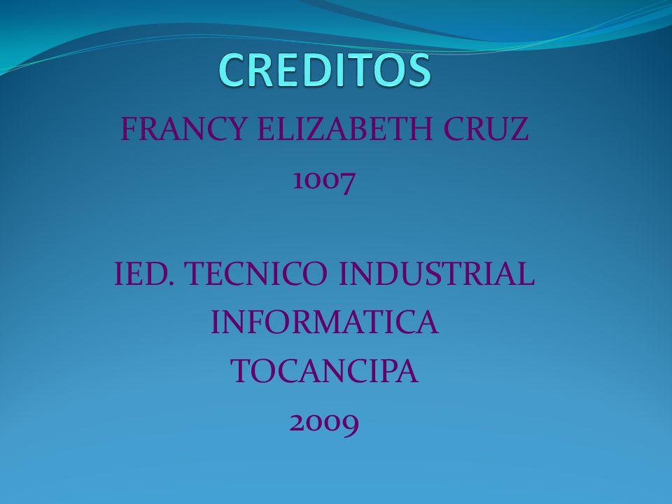 FRANCY ELIZABETH CRUZ 1007 IED. TECNICO INDUSTRIAL INFORMATICA TOCANCIPA 2009