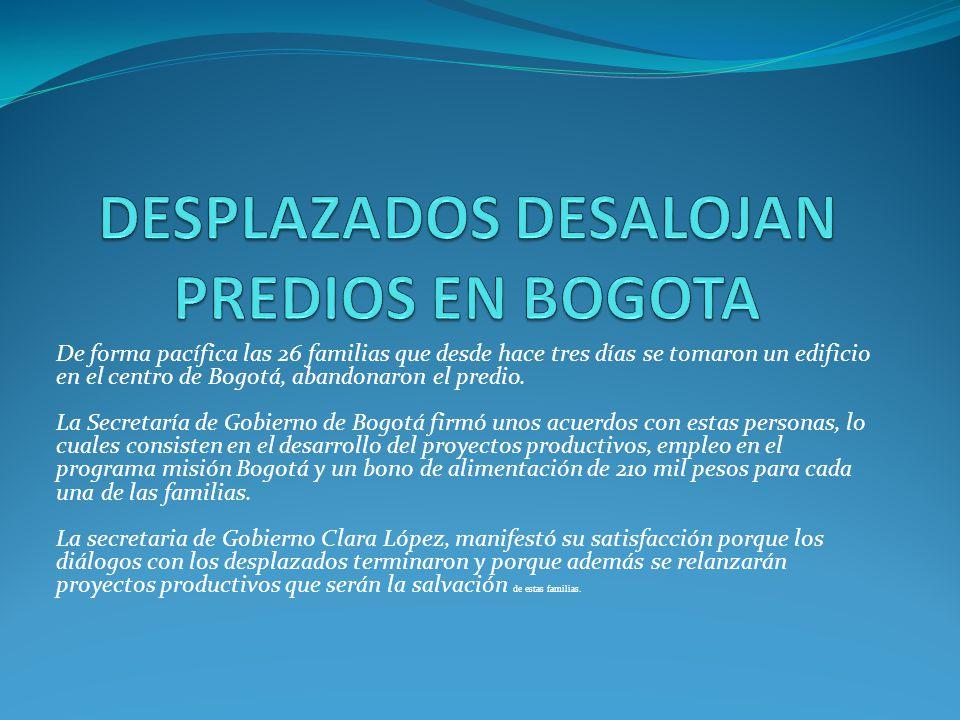 De forma pacífica las 26 familias que desde hace tres días se tomaron un edificio en el centro de Bogotá, abandonaron el predio. La Secretaría de Gobi