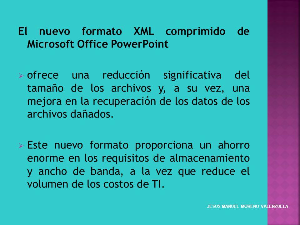 El nuevo formato XML comprimido de Microsoft Office PowerPoint ofrece una reducción significativa del tamaño de los archivos y, a su vez, una mejora e