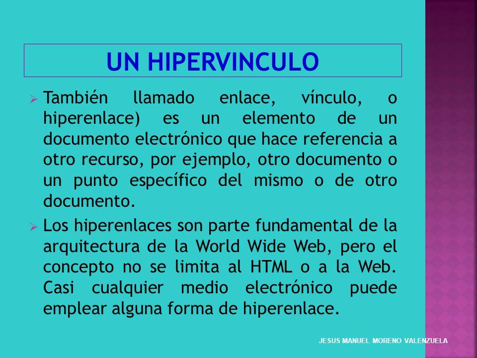 También llamado enlace, vínculo, o hiperenlace) es un elemento de un documento electrónico que hace referencia a otro recurso, por ejemplo, otro docum