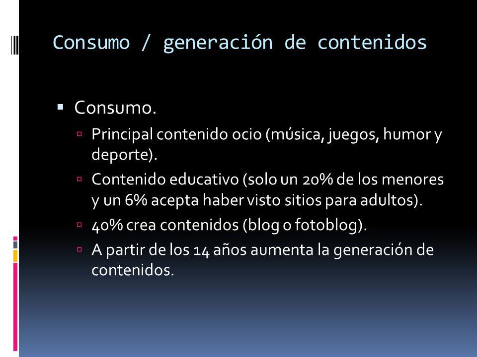 Consumo / generación de contenidos Consumo. Principal contenido ocio (música, juegos, humor y deporte). Contenido educativo (solo un 20% de los menore