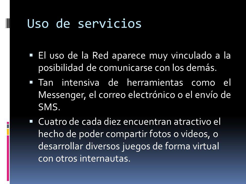 Uso de servicios El uso de la Red aparece muy vinculado a la posibilidad de comunicarse con los demás. Tan intensiva de herramientas como el Messenger