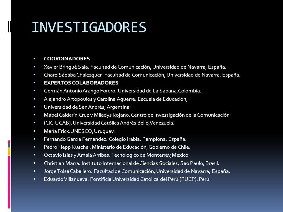 INVESTIGADORES COORDINADORES Xavier Bringué Sala.