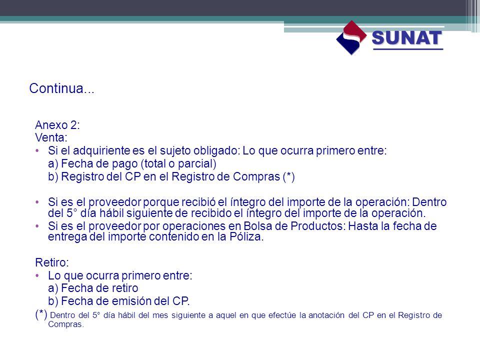 Continua... Anexo 2: Venta: Si el adquiriente es el sujeto obligado: Lo que ocurra primero entre: a) Fecha de pago (total o parcial) b) Registro del C