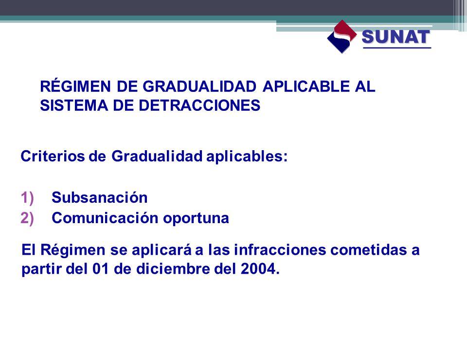 RÉGIMEN DE GRADUALIDAD APLICABLE AL SISTEMA DE DETRACCIONES Criterios de Gradualidad aplicables: 1)Subsanación 2)Comunicación oportuna SUNAT El Régime