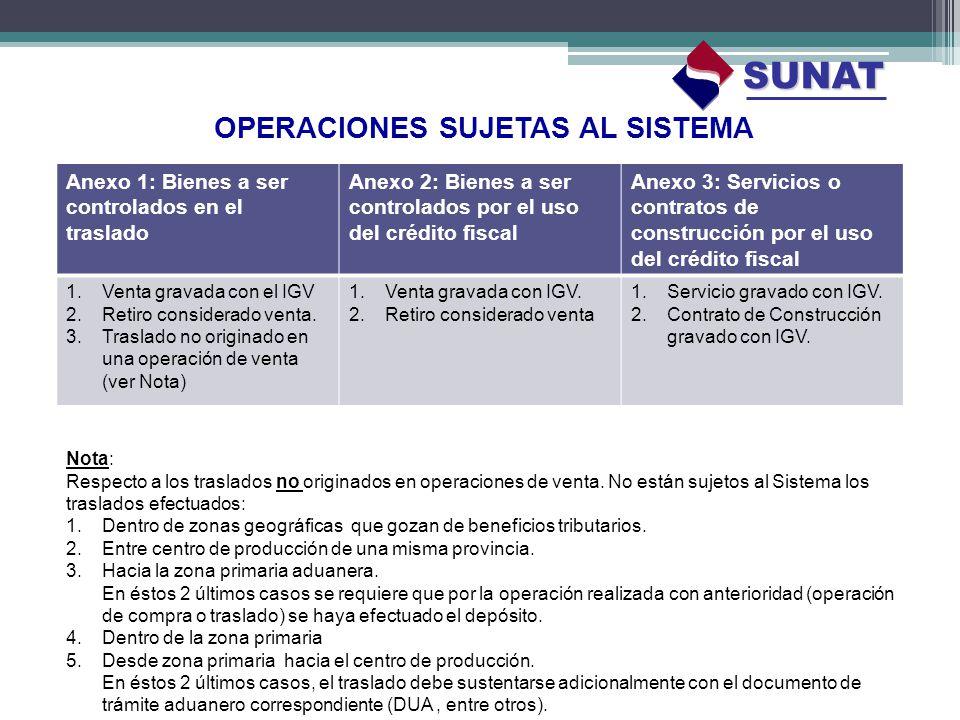 OPERACIONES SUJETAS AL SISTEMA SUNAT Anexo 1: Bienes a ser controlados en el traslado Anexo 2: Bienes a ser controlados por el uso del crédito fiscal