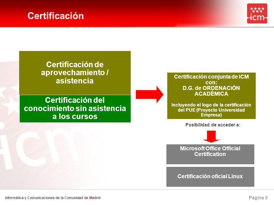Página 5 Informática y Comunicaciones de la Comunidad de Madrid Certificación Certificación de aprovechamiento / asistencia Certificación conjunta de ICM con: D.G.