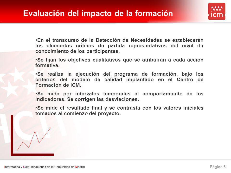 Página 6 Informática y Comunicaciones de la Comunidad de Madrid Evaluación del impacto de la formación En el transcurso de la Detección de Necesidades se establecerán los elementos críticos de partida representativos del nivel de conocimiento de los participantes.