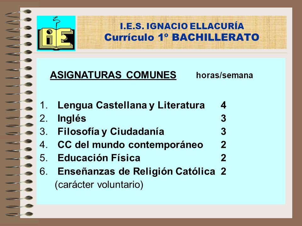 I.E.S. IGNACIO ELLACURÍA Currículo 1º BACHILLERATO ASIGNATURAS COMUNES horas/semana 1. Lengua Castellana y Literatura4 2. Inglés3 3. Filosofía y Ciuda