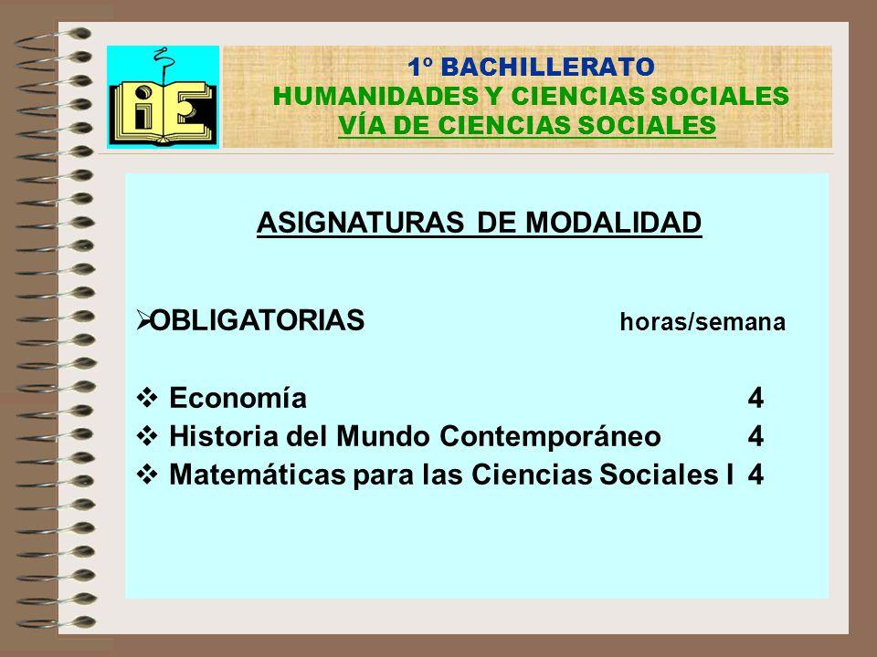 1º BACHILLERATO HUMANIDADES Y CIENCIAS SOCIALES VÍA DE CIENCIAS SOCIALES ASIGNATURAS DE MODALIDAD OBLIGATORIAS horas/semana Economía4 Historia del Mun