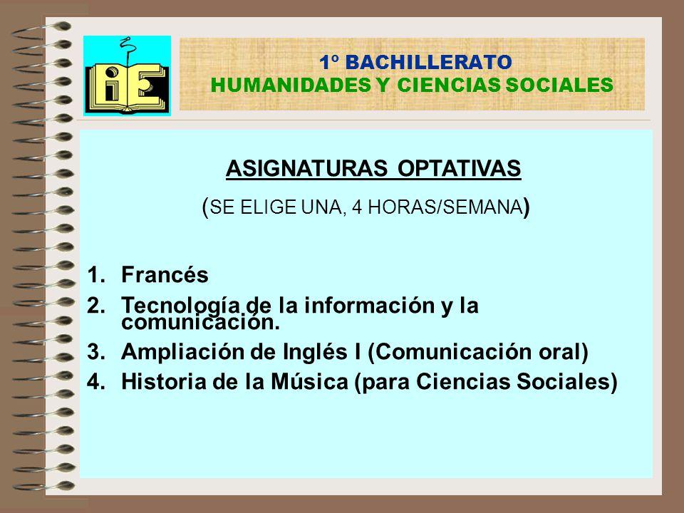 1º BACHILLERATO HUMANIDADES Y CIENCIAS SOCIALES ASIGNATURAS OPTATIVAS ( SE ELIGE UNA, 4 HORAS/SEMANA ) 1.Francés 2.Tecnología de la información y la c
