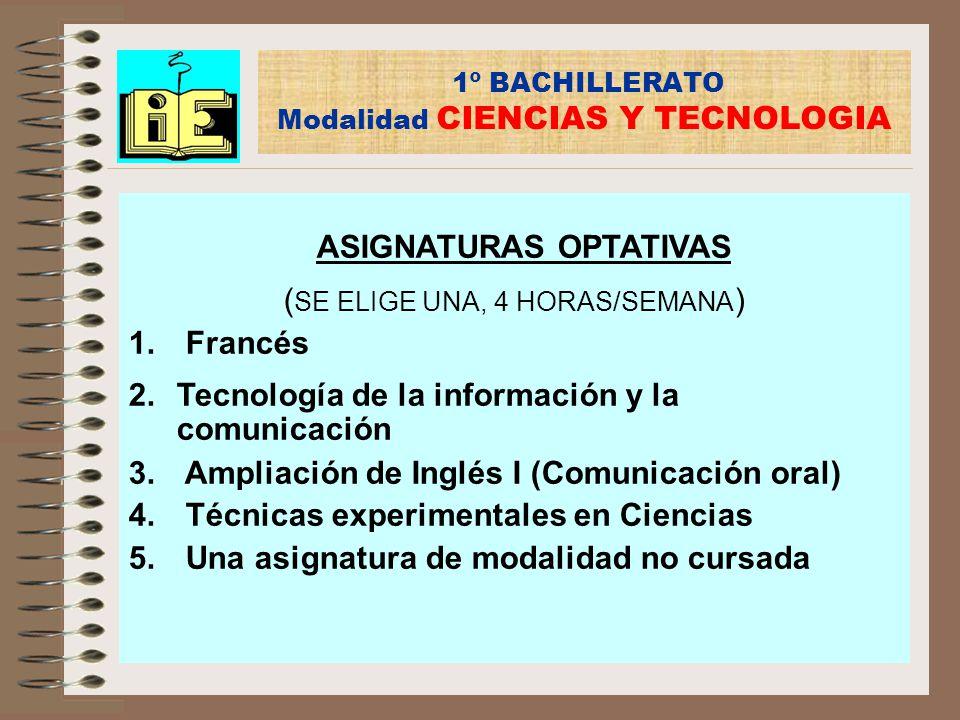1º BACHILLERATO Modalidad CIENCIAS Y TECNOLOGIA ASIGNATURAS OPTATIVAS ( SE ELIGE UNA, 4 HORAS/SEMANA ) 1. Francés 2.Tecnología de la información y la