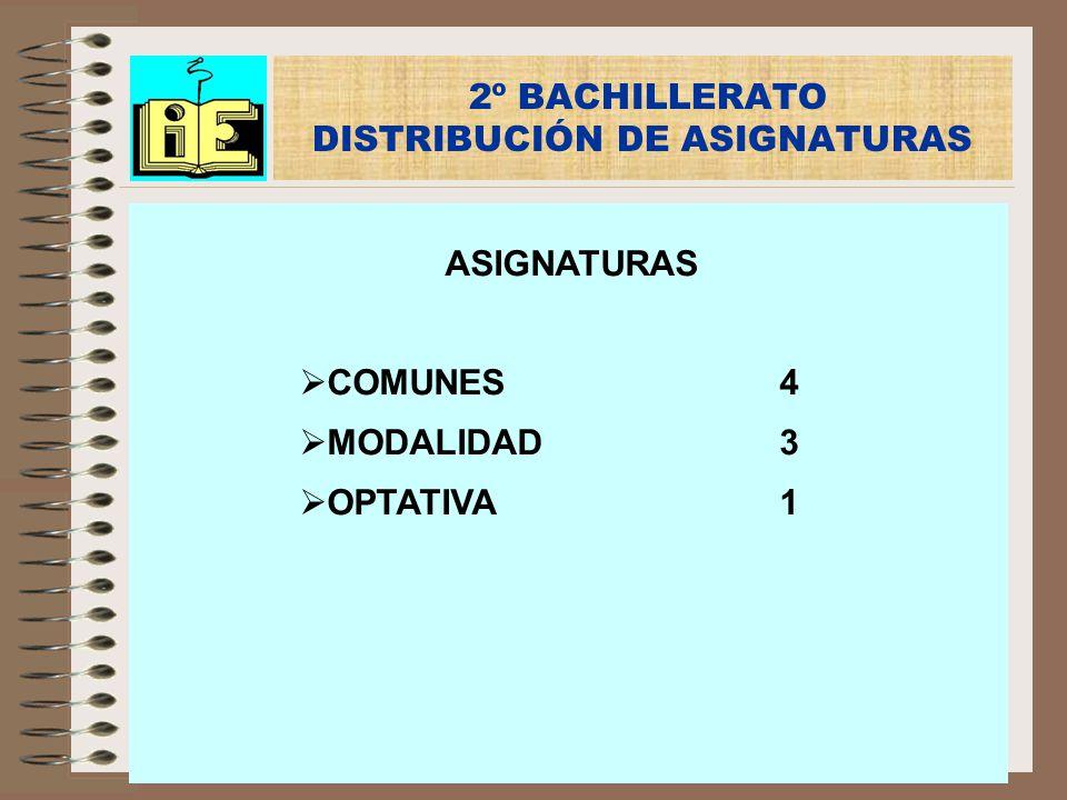 2º BACHILLERATO DISTRIBUCIÓN DE ASIGNATURAS ASIGNATURAS COMUNES4 MODALIDAD3 OPTATIVA1