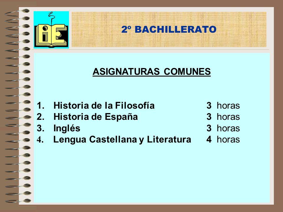 2º BACHILLERATO ASIGNATURAS COMUNES 1. Historia de la Filosofía3 horas 2. Historia de España3 horas 3. Inglés3 horas 4. Lengua Castellana y Literatura