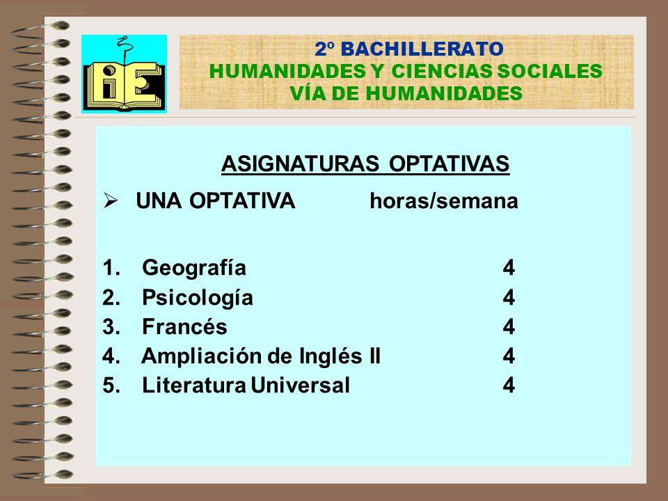 2º BACHILLERATO HUMANIDADES Y CIENCIAS SOCIALES VÍA DE HUMANIDADES ASIGNATURAS OPTATIVAS UNA OPTATIVAhoras/semana 1. Geografía4 2. Psicología4 3. Fran
