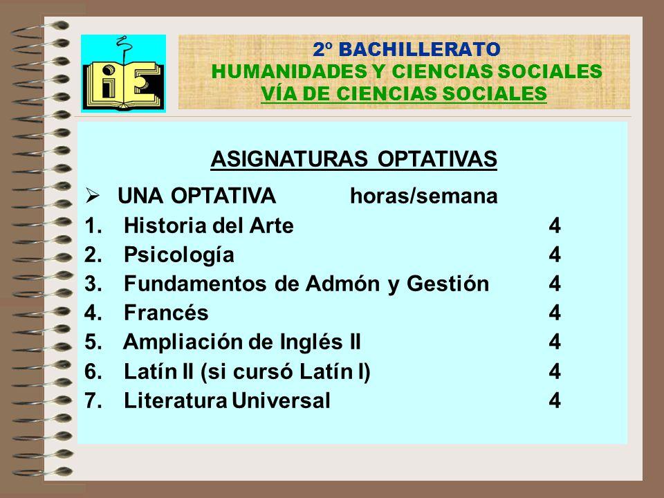 2º BACHILLERATO HUMANIDADES Y CIENCIAS SOCIALES VÍA DE CIENCIAS SOCIALES ASIGNATURAS OPTATIVAS UNA OPTATIVAhoras/semana 1. Historia del Arte4 2. Psico