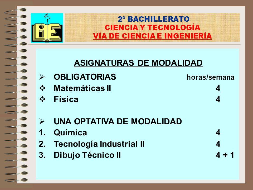 2º BACHILLERATO CIENCIA Y TECNOLOGÍA VÍA DE CIENCIA E INGENIERÍA ASIGNATURAS DE MODALIDAD OBLIGATORIAS horas/semana Matemáticas II4 Física4 UNA OPTATI