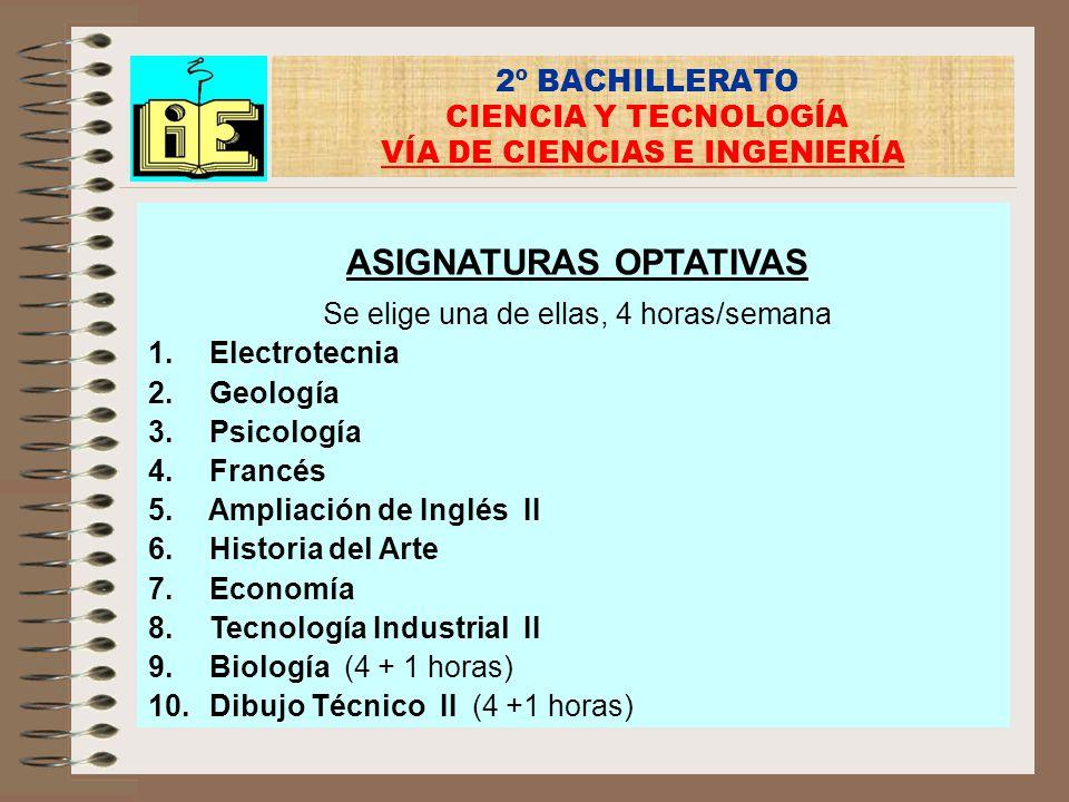 2º BACHILLERATO CIENCIA Y TECNOLOGÍA VÍA DE CIENCIAS E INGENIERÍA ASIGNATURAS OPTATIVAS Se elige una de ellas, 4 horas/semana 1. Electrotecnia 2. Geol