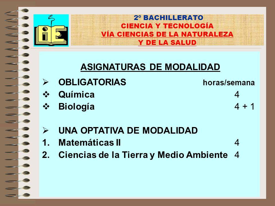 2º BACHILLERATO CIENCIA Y TECNOLOGÍA VÍA CIENCIAS DE LA NATURALEZA Y DE LA SALUD ASIGNATURAS DE MODALIDAD OBLIGATORIAS horas/semana Química4 Biología4