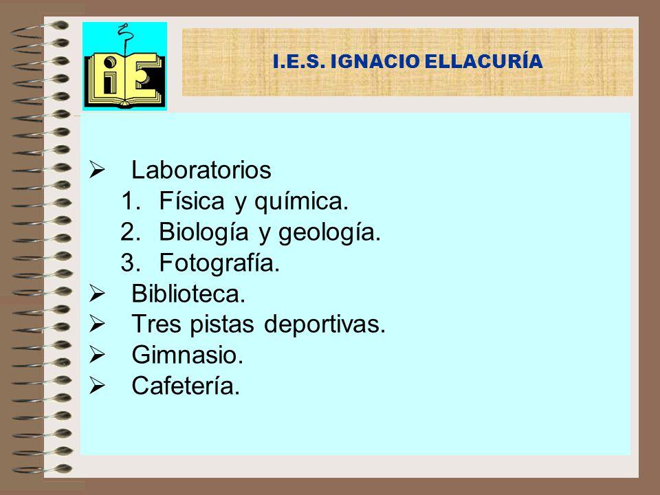 Laboratorios 1.Física y química. 2.Biología y geología. 3.Fotografía. Biblioteca. Tres pistas deportivas. Gimnasio. Cafetería. I.E.S. IGNACIO ELLACURÍ
