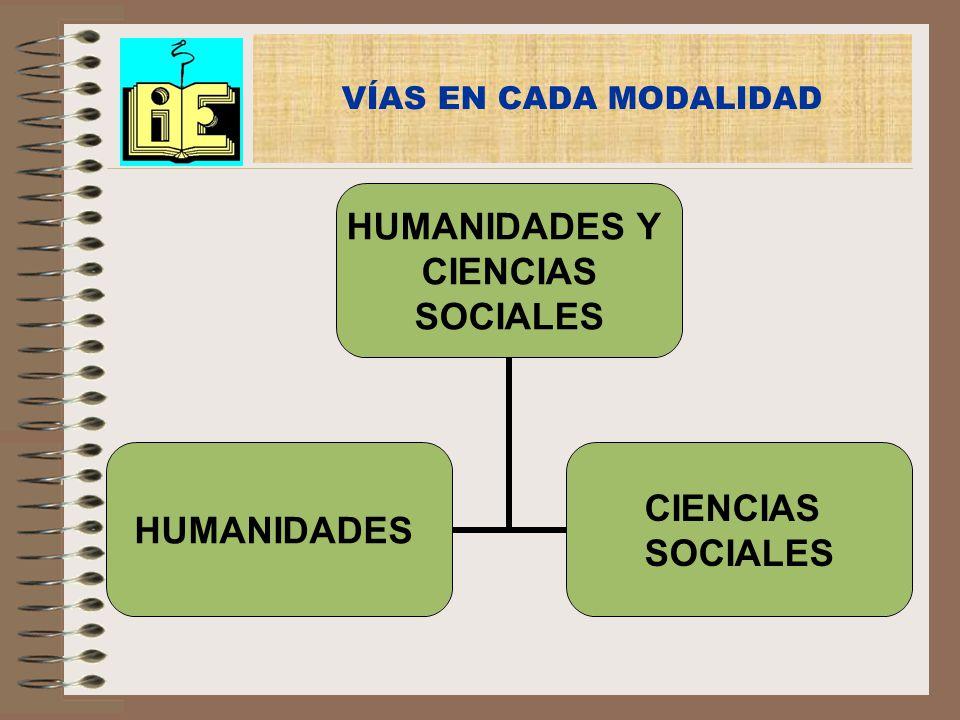 VÍAS EN CADA MODALIDAD HUMANIDADES Y CIENCIAS SOCIALES HUMANIDADES CIENCIAS SOCIALES