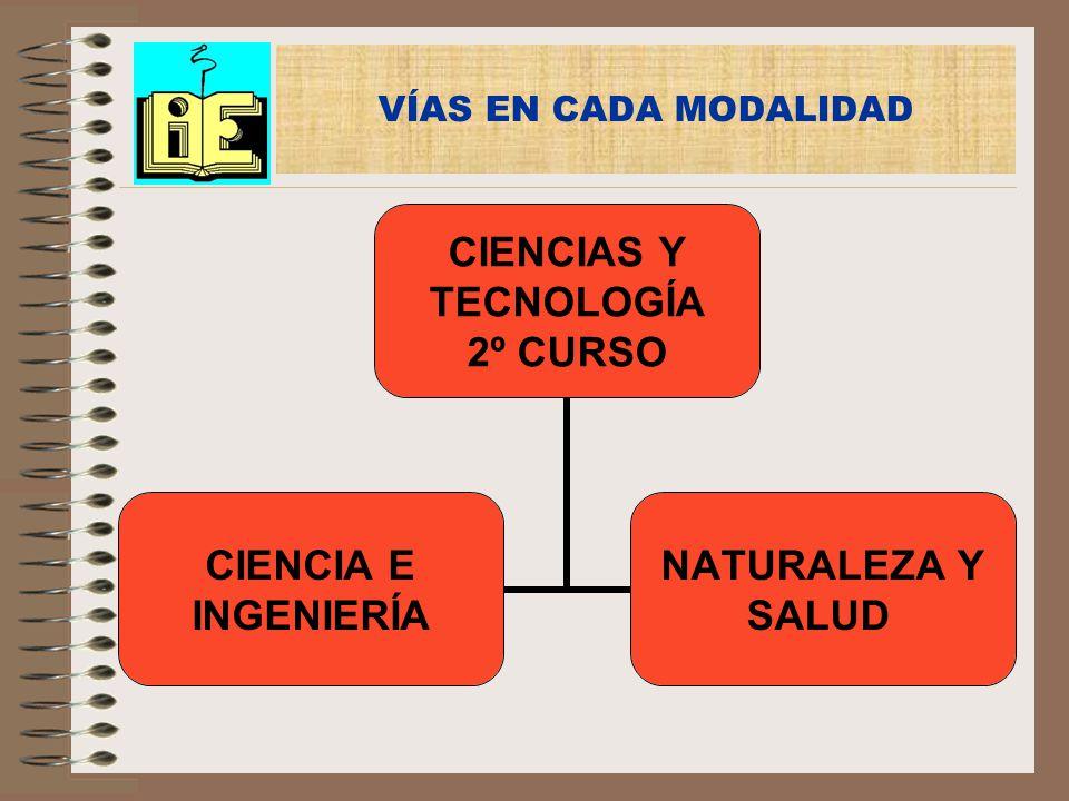 VÍAS EN CADA MODALIDAD CIENCIAS Y TECNOLOGÍA 2º CURSO CIENCIA E INGENIERÍA NATURALEZA Y SALUD