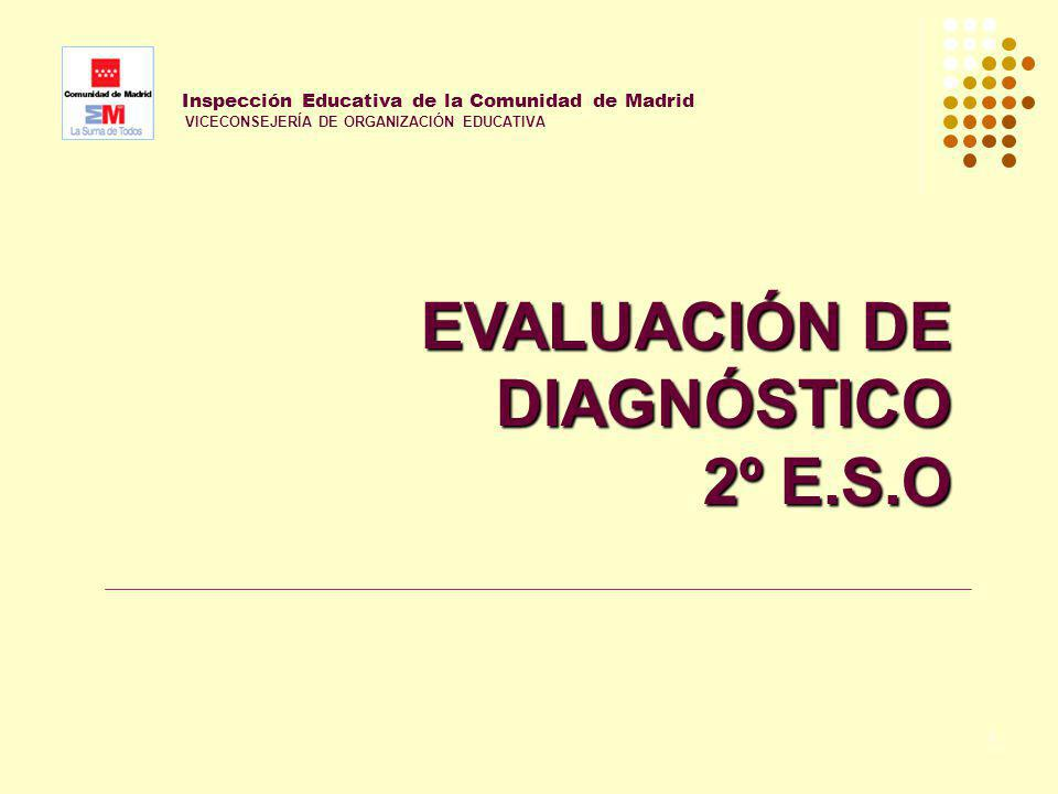 1 Inspección Educativa de la Comunidad de Madrid VICECONSEJERÍA DE ORGANIZACIÓN EDUCATIVA EVALUACIÓN DE DIAGNÓSTICO 2º E.S.O