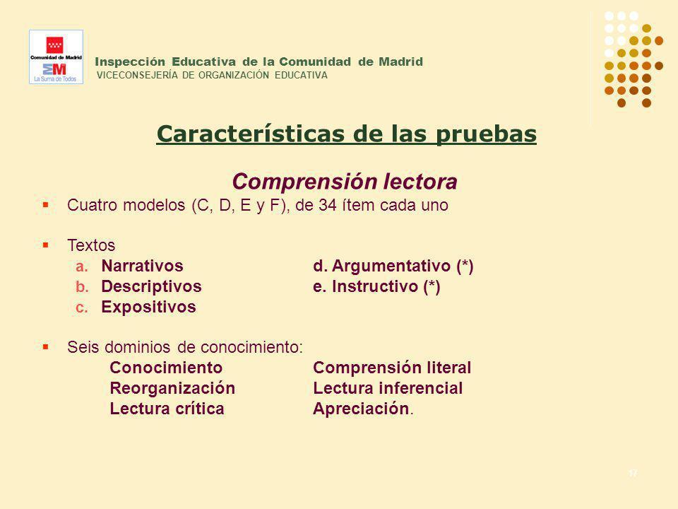 17 Inspección Educativa de la Comunidad de Madrid VICECONSEJERÍA DE ORGANIZACIÓN EDUCATIVA Comprensión lectora Cuatro modelos (C, D, E y F), de 34 íte