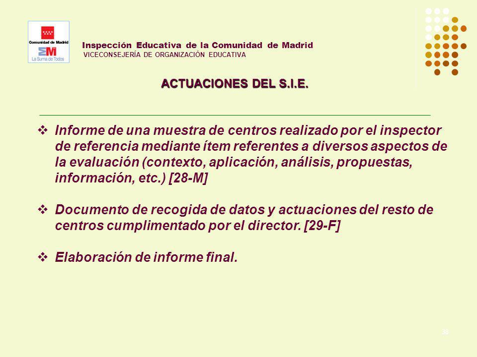 38 Inspección Educativa de la Comunidad de Madrid VICECONSEJERÍA DE ORGANIZACIÓN EDUCATIVA ACTUACIONES DEL S.I.E. Informe de una muestra de centros re