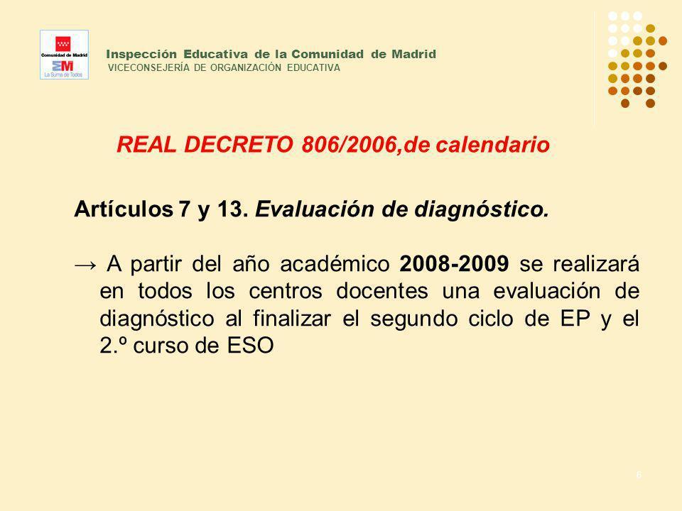 6 Inspección Educativa de la Comunidad de Madrid VICECONSEJERÍA DE ORGANIZACIÓN EDUCATIVA REAL DECRETO 806/2006,de calendario Artículos 7 y 13. Evalua