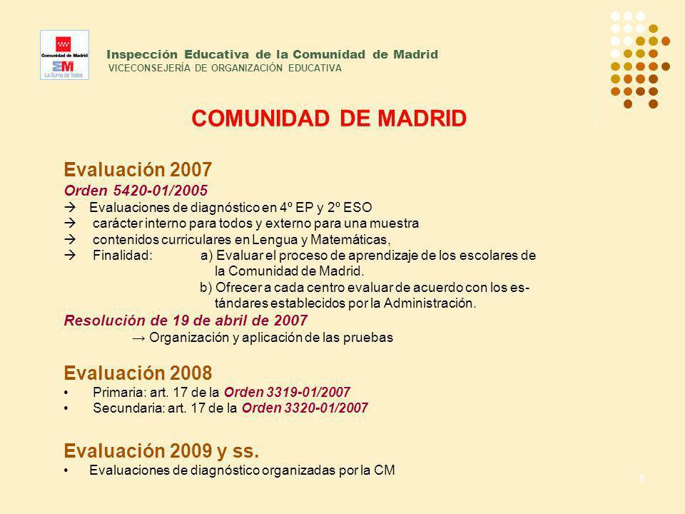 9 Inspección Educativa de la Comunidad de Madrid VICECONSEJERÍA DE ORGANIZACIÓN EDUCATIVA COMUNIDAD DE MADRID Evaluación 2007 Orden 5420-01/2005 Evalu