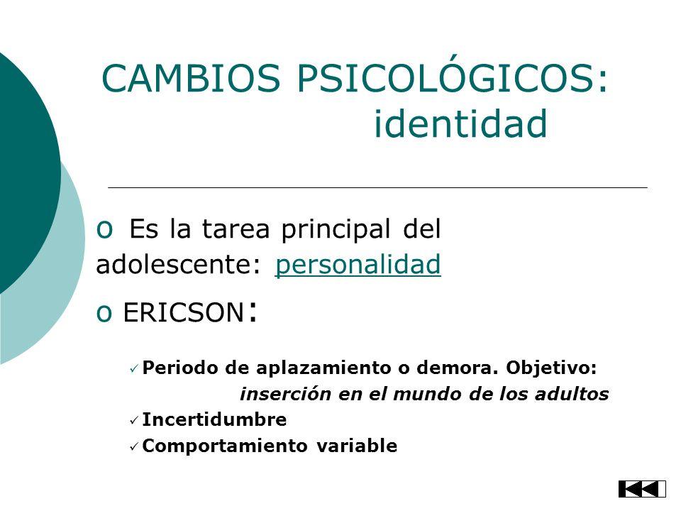 CAMBIOS PSICOLÓGICOS: identidad o Es la tarea principal del adolescente: personalidadpersonalidad o ERICSON : Periodo de aplazamiento o demora. Objeti