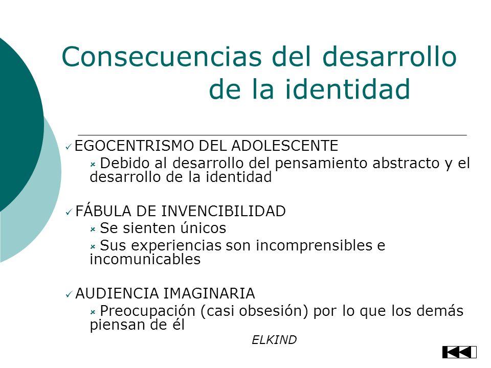 Consecuencias del desarrollo de la identidad EGOCENTRISMO DEL ADOLESCENTE Debido al desarrollo del pensamiento abstracto y el desarrollo de la identid