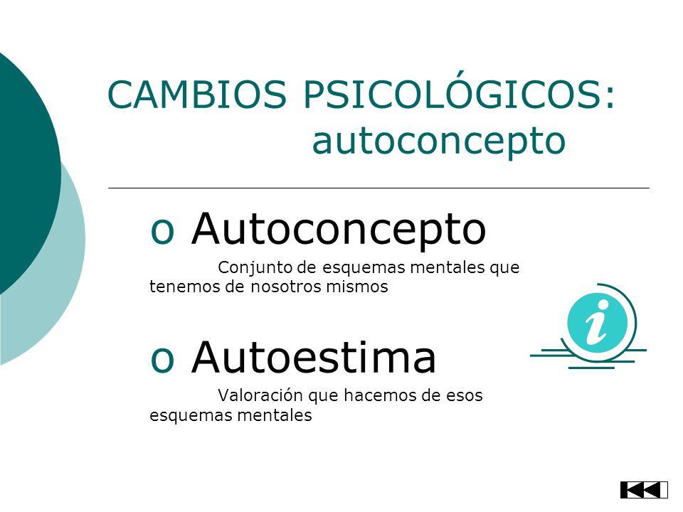 CAMBIOS PSICOLÓGICOS: autoconcepto o Autoconcepto Conjunto de esquemas mentales que tenemos de nosotros mismos o Autoestima Valoración que hacemos de